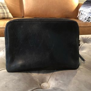 Madewell Black Leather Pouch Clutch